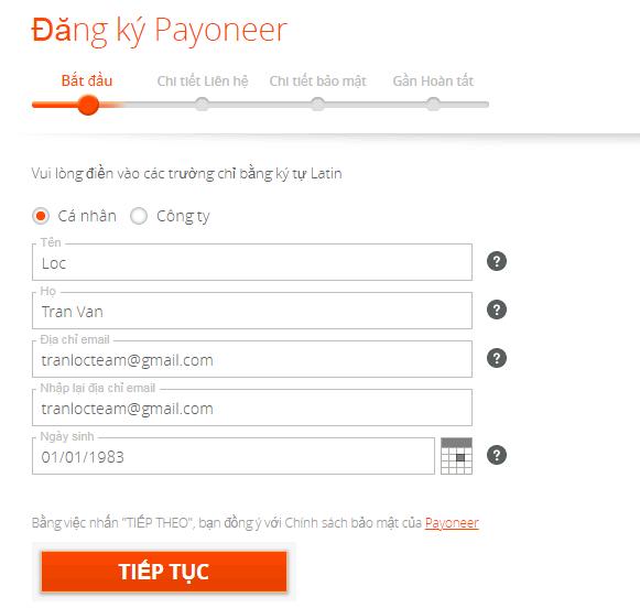 Cách đăng ký Payoneer để nhận được $25* mới nhất 3