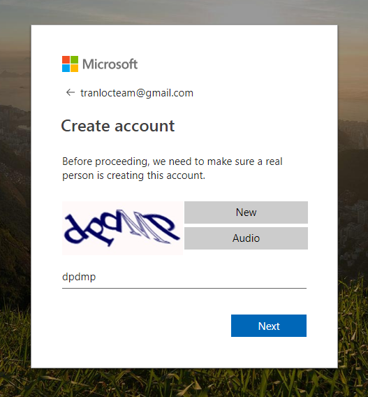 Nhập mã kiểm tra người dùng thật