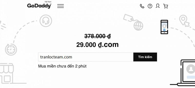 Tên miền GoDaddy khuyến mãi chỉ còn 29k