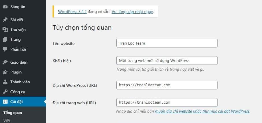 Cài đặt địa chỉ trang web (URL)