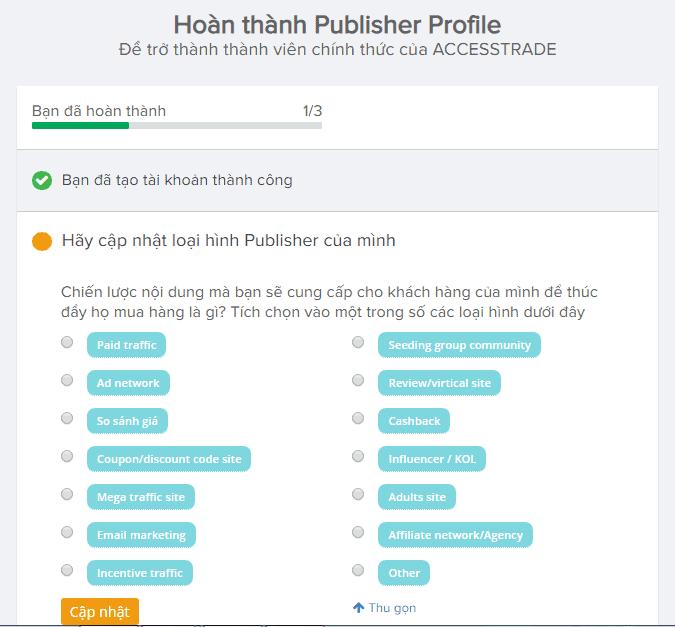 Hoàn thành Publisher Profile