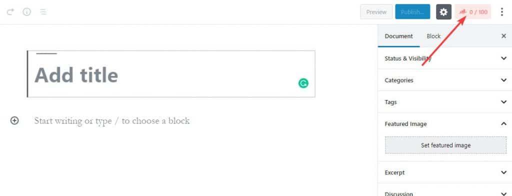 Cách mở Rank Math trong Block Editor mới của WordPress