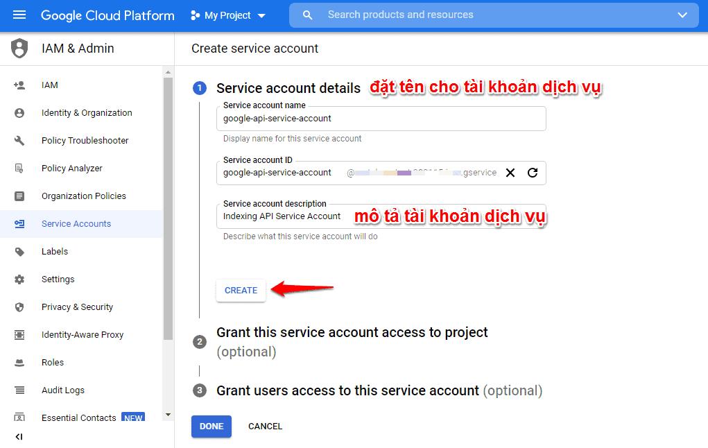 Tạo google API lập chỉ mục | tạo tài khoản dịch vụ