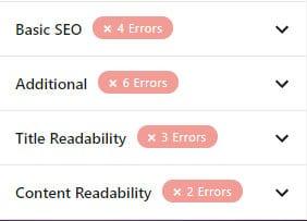 Basic SEO (cơ bản) Additional (bổ sung) Title Readability (sự dễ đọc của tiêu đề) Content Readability (sự dễ đọc của nội dung)