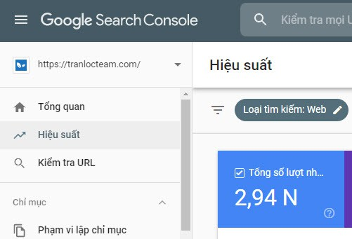 Google Search Console: Báo cáo hiệu suất