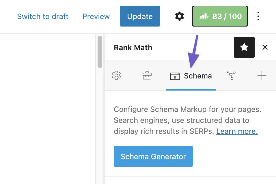 Tab Schema trong Rank Math