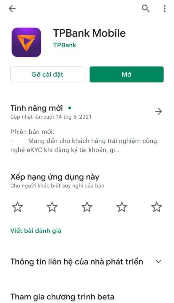 Tải ứng dụng TPBank Mobile