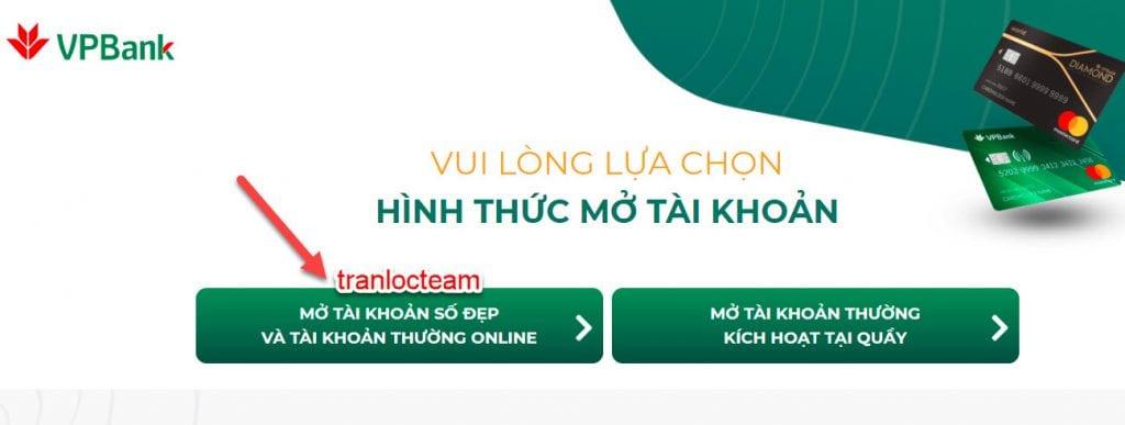 Mở tài khoản số đẹp VPBank online miễn phí 1