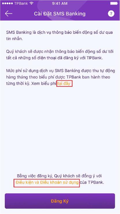 Hướng dẫn đăng ký SMS Banking TPBank 3