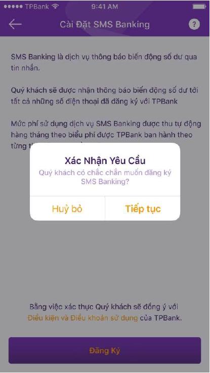 Hướng dẫn đăng ký SMS Banking TPBank 5