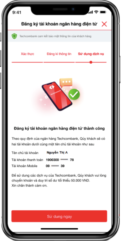 Mở tài khoản Techcombank online 1