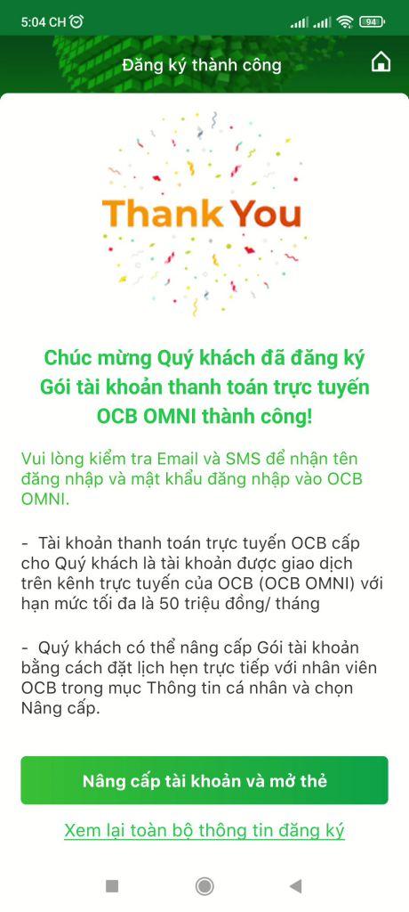 Mở tài khoản ngân hàng OCB online 14